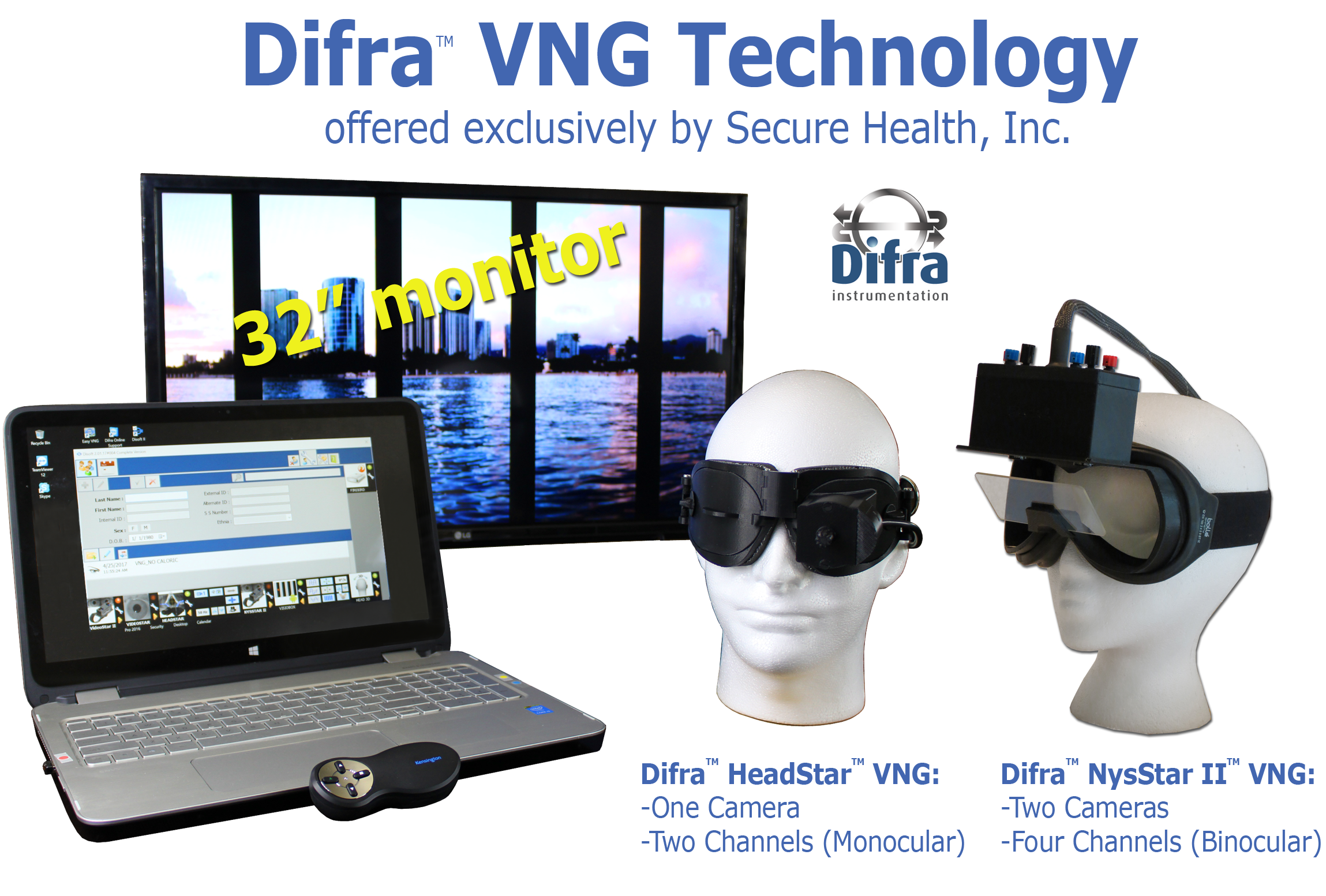 premium new vng equipment, Difra, VNG equipment, technology, monocular, binocular, videonystagmography systems