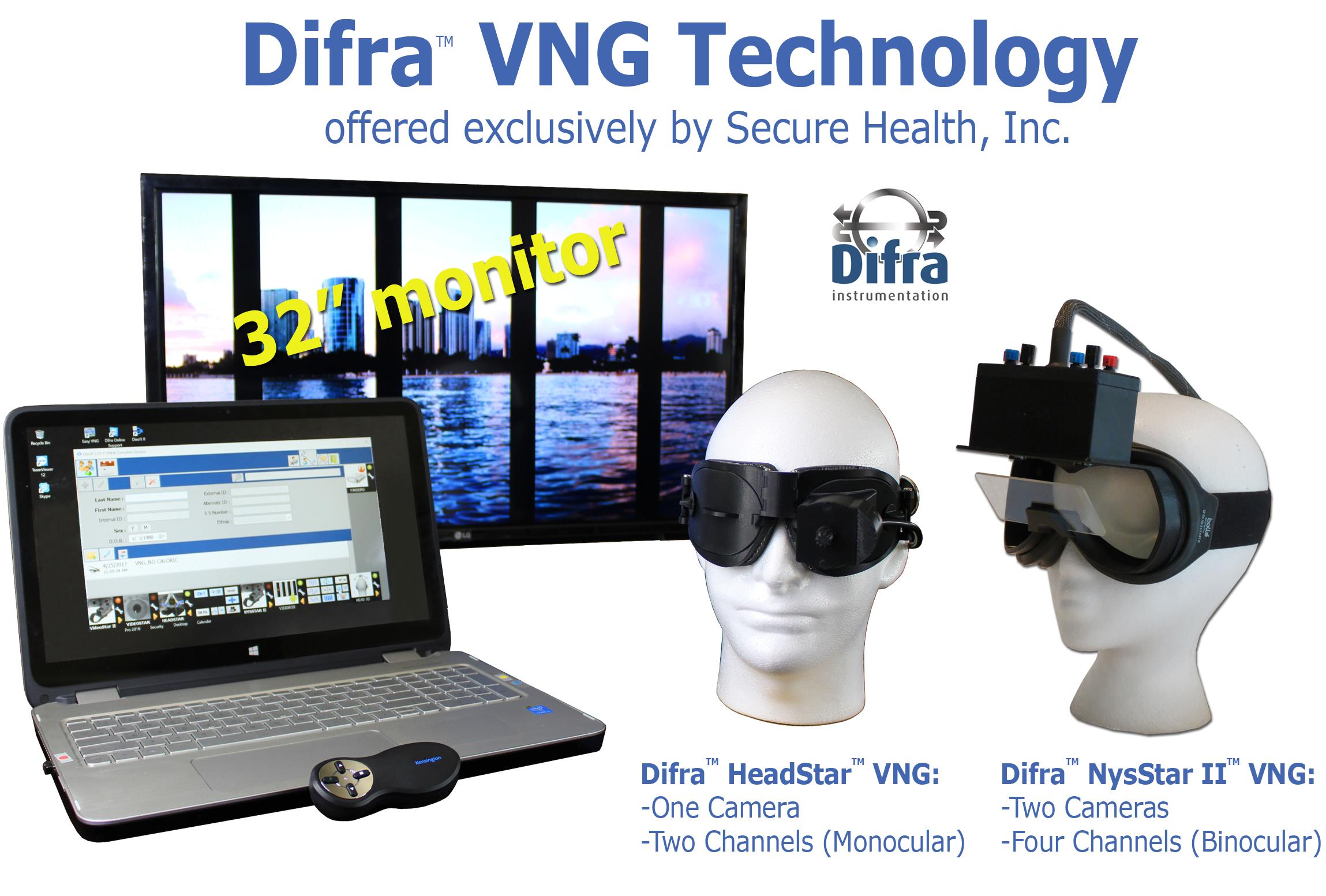 Difra, VNG, premium technology, monocular, binocular, videonystagmography systems